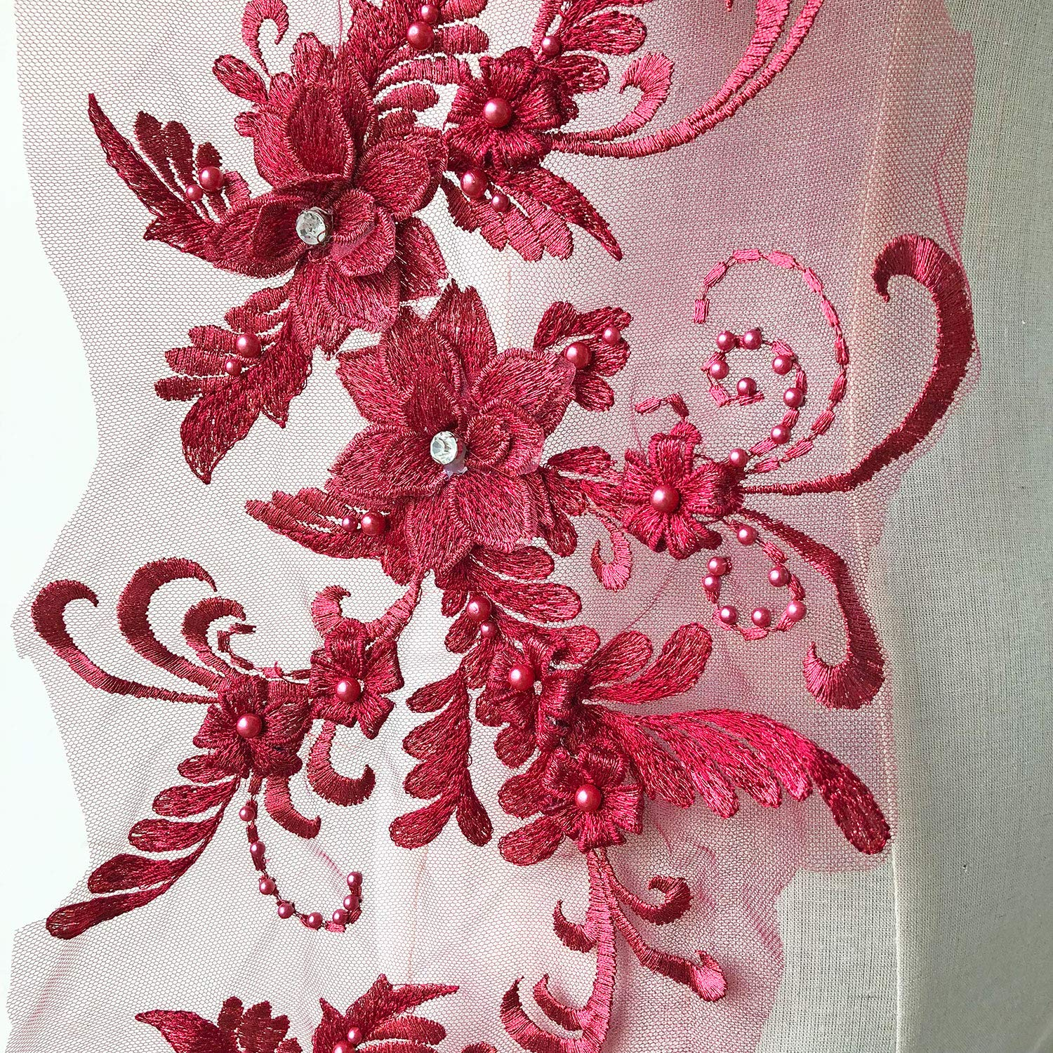 3D Beaded Flower Embroidery Lace Patch Applique Crystal Sewing Lace Motif for Dance Costumes Ballgown Red Color