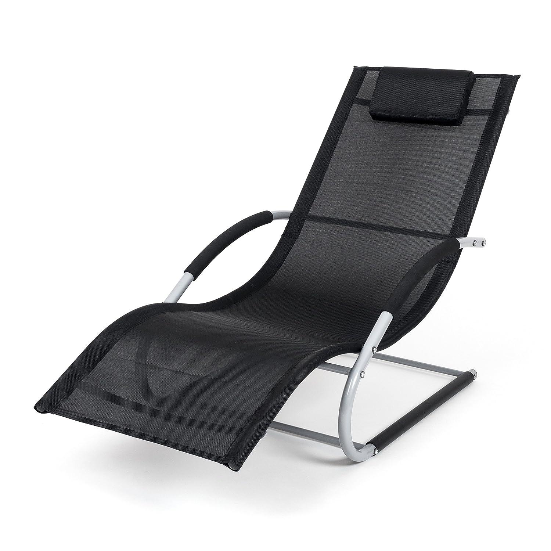 Ampel 24, Sedia a sdraio PANAMA nera | Tenda da sole regolabile | Sdraio prendisole per una persona | 100% resistente alle intemperie | Larice siberiano