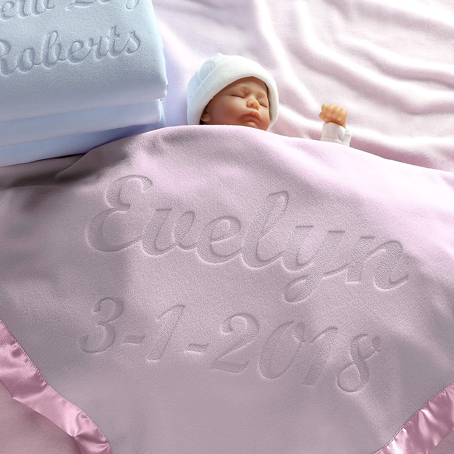 Embroidered New Born Pink Gift Ch Personalised Baby Girl Blanket Birth Details