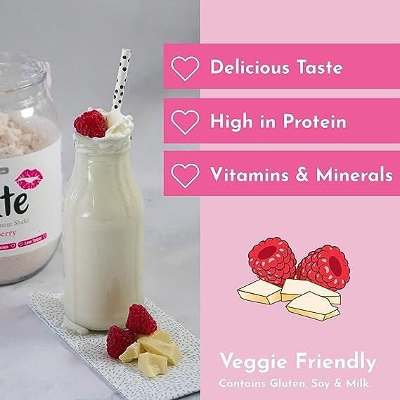 Cute Nutrition Batido Sustitutivo de Comida Sabor Chocolate Blanco Frambuesa para el Control de la Pérdida de Peso en Polvo Bebida Dietética para Mujer Bote de 500 g: Amazon.es: Salud y cuidado