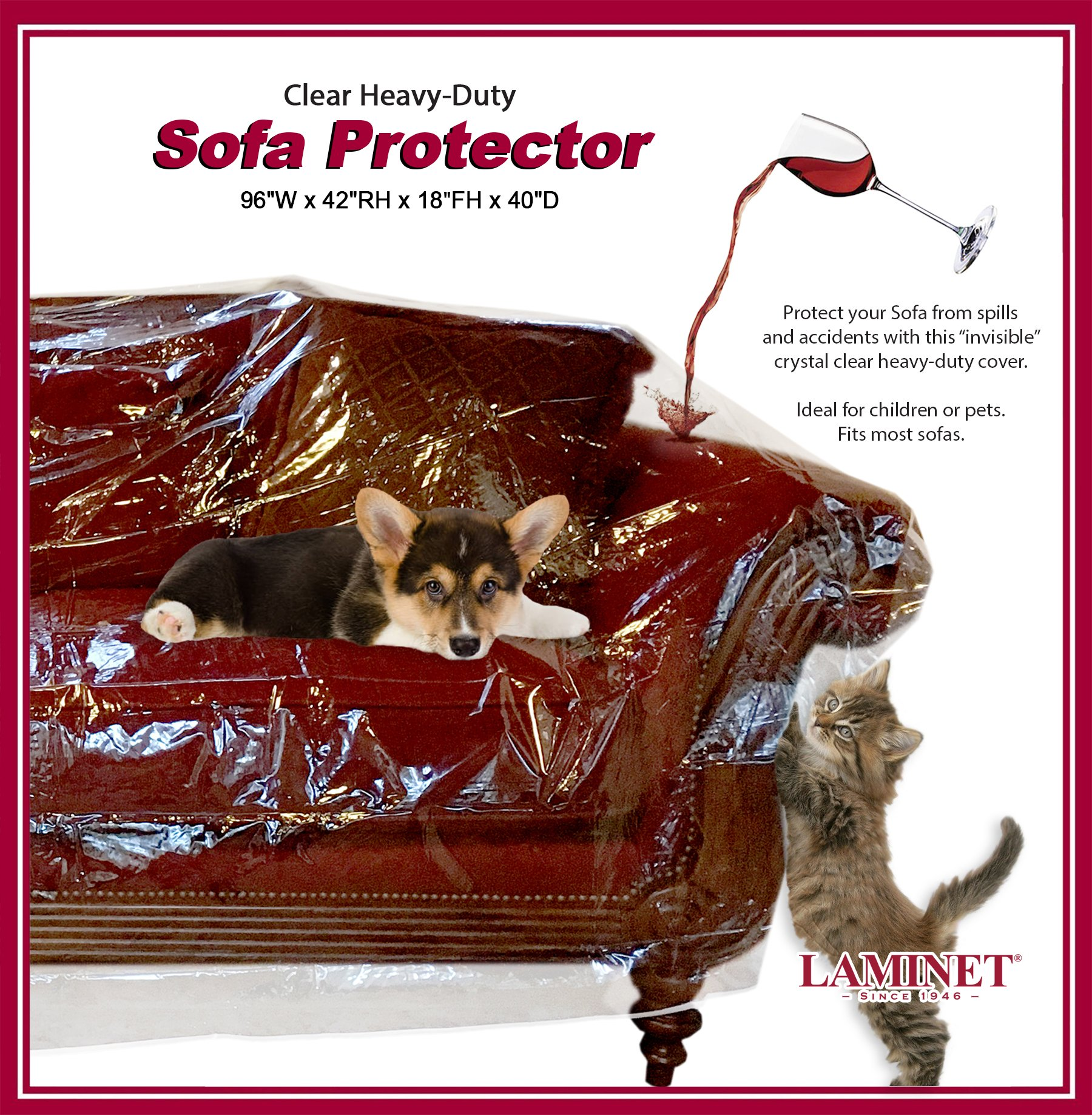 LAMINET Thick Crystal Clear Heavy-Duty Water Resistant Sofa/Couch Cover - PERFECT For Protection Against CAT/DOG Clawing, Kids and Grandkids!!!