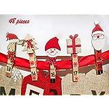 Viva Haushaltswaren 24 Deko-Klammern Holzklammern Weihnachten