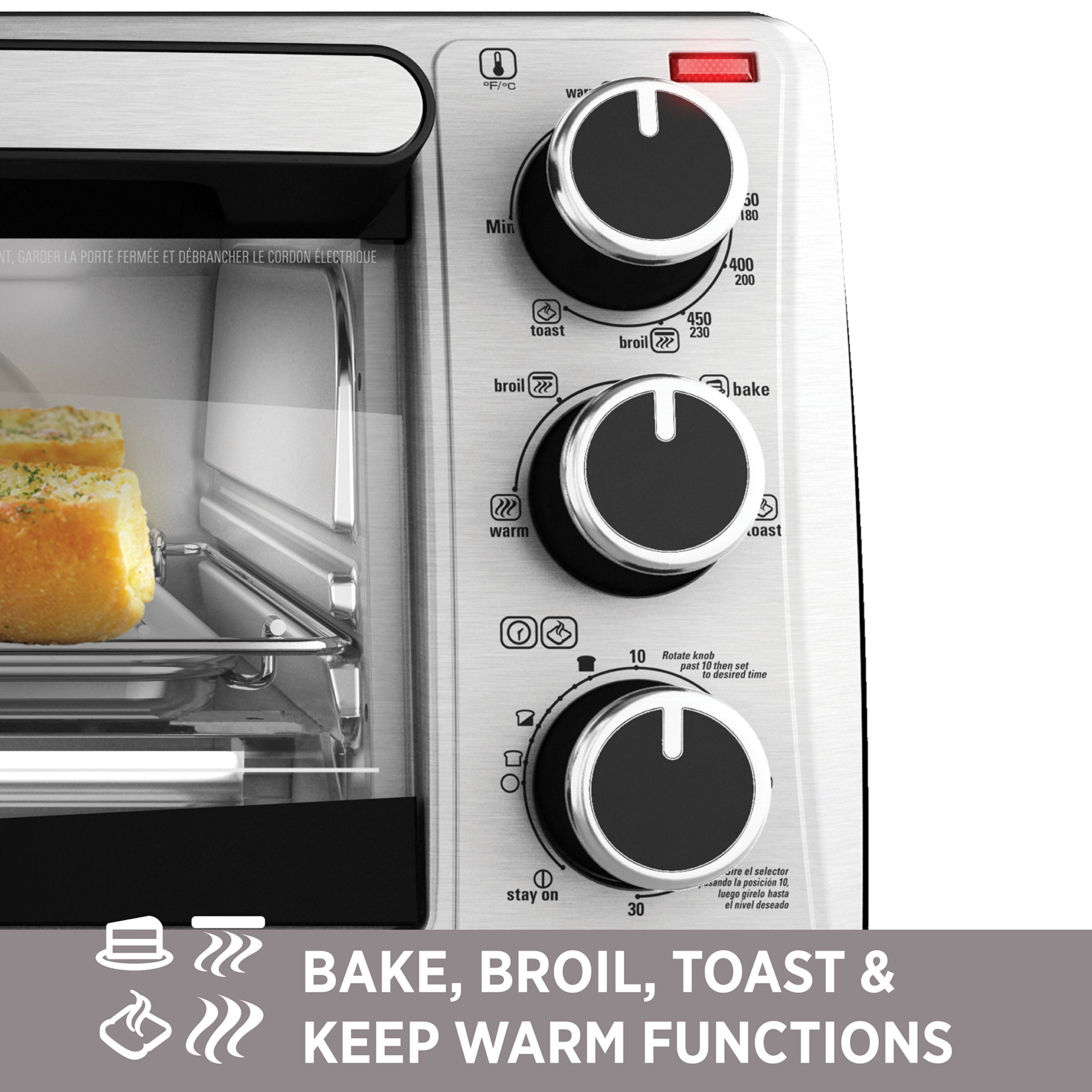 BLACK+DECKER 4-Slice Toaster Oven, Stainless Steel, TO1303SB by BLACK+DECKER (Image #7)