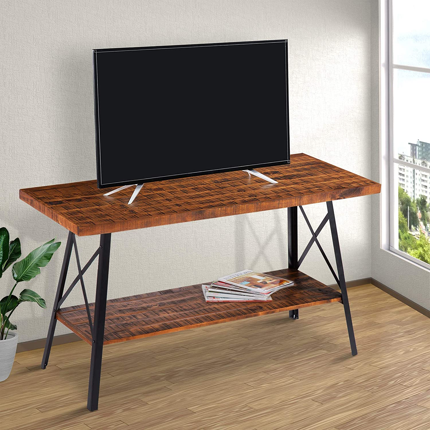 """CDM product Olee Sleep 48"""" Solid Wood & Dura Metal Legs Sofa Table/TV Stand/End Table/Side Table/Accent Table/Office Table/Computer Table/Dining Table/Natural Wood Top, Rustic Brown big image"""