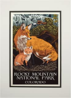 product image for Rocky Mountain National Park, Colorado - Fox and Kit - Letterpress (11x14 Double-Matted Art Print, Wall Decor Ready to Frame)