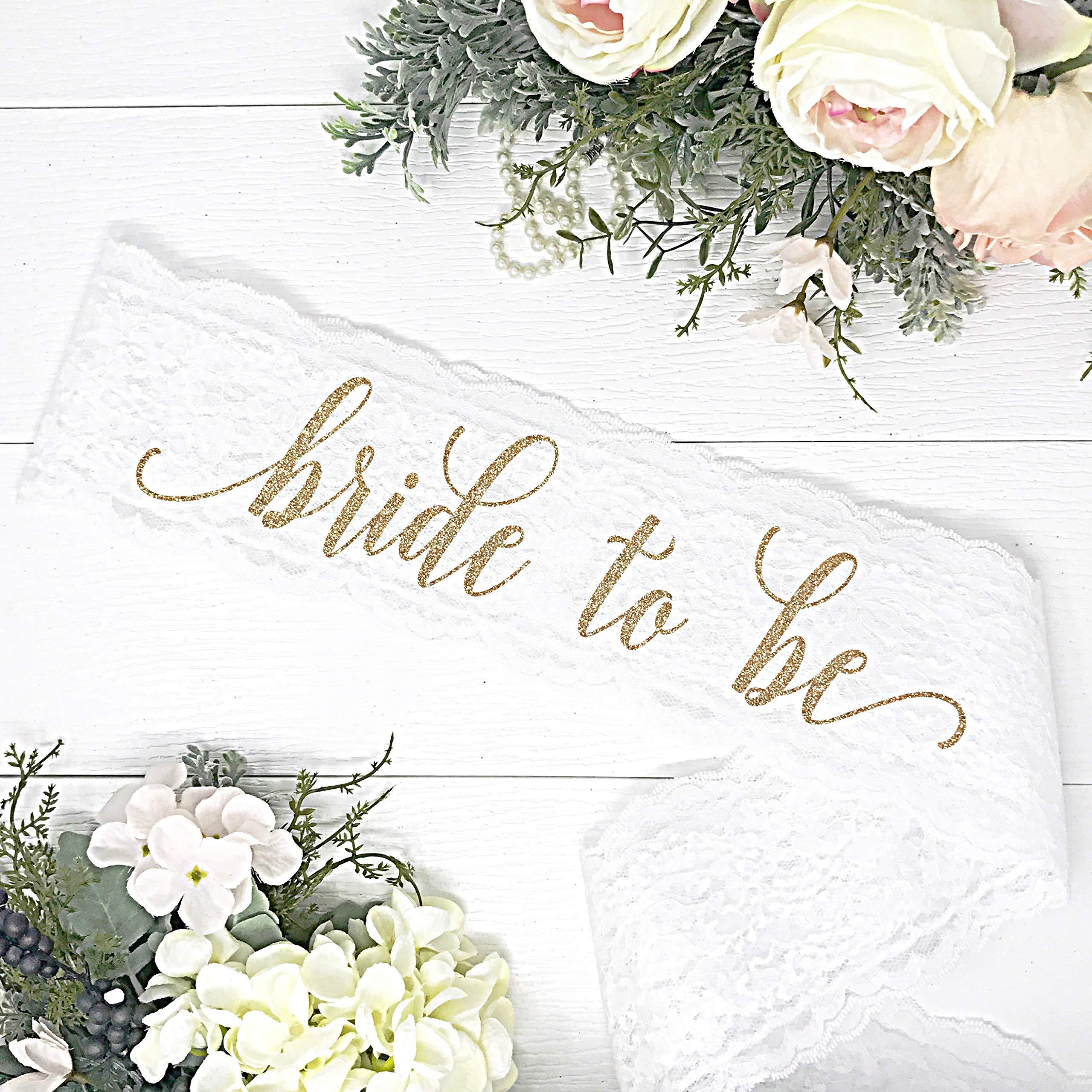 Lace Bachelorette Sash - White Lace - Gold''Bride To Be''