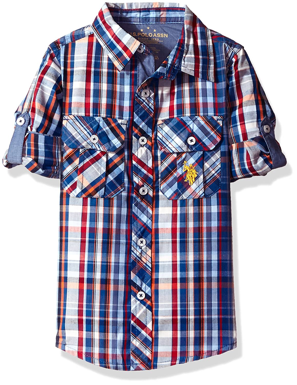 U.S. Polo Assn Boys' Long Sleeve Plaid Two Pleated Pocket Sport Shirt SF521