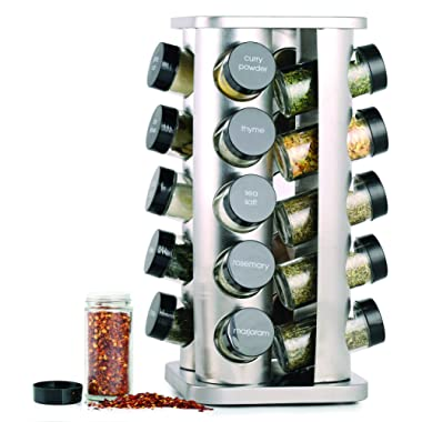 Orii GSR3421 Rivetto Rotating Spice Rack, Steel with Black caps