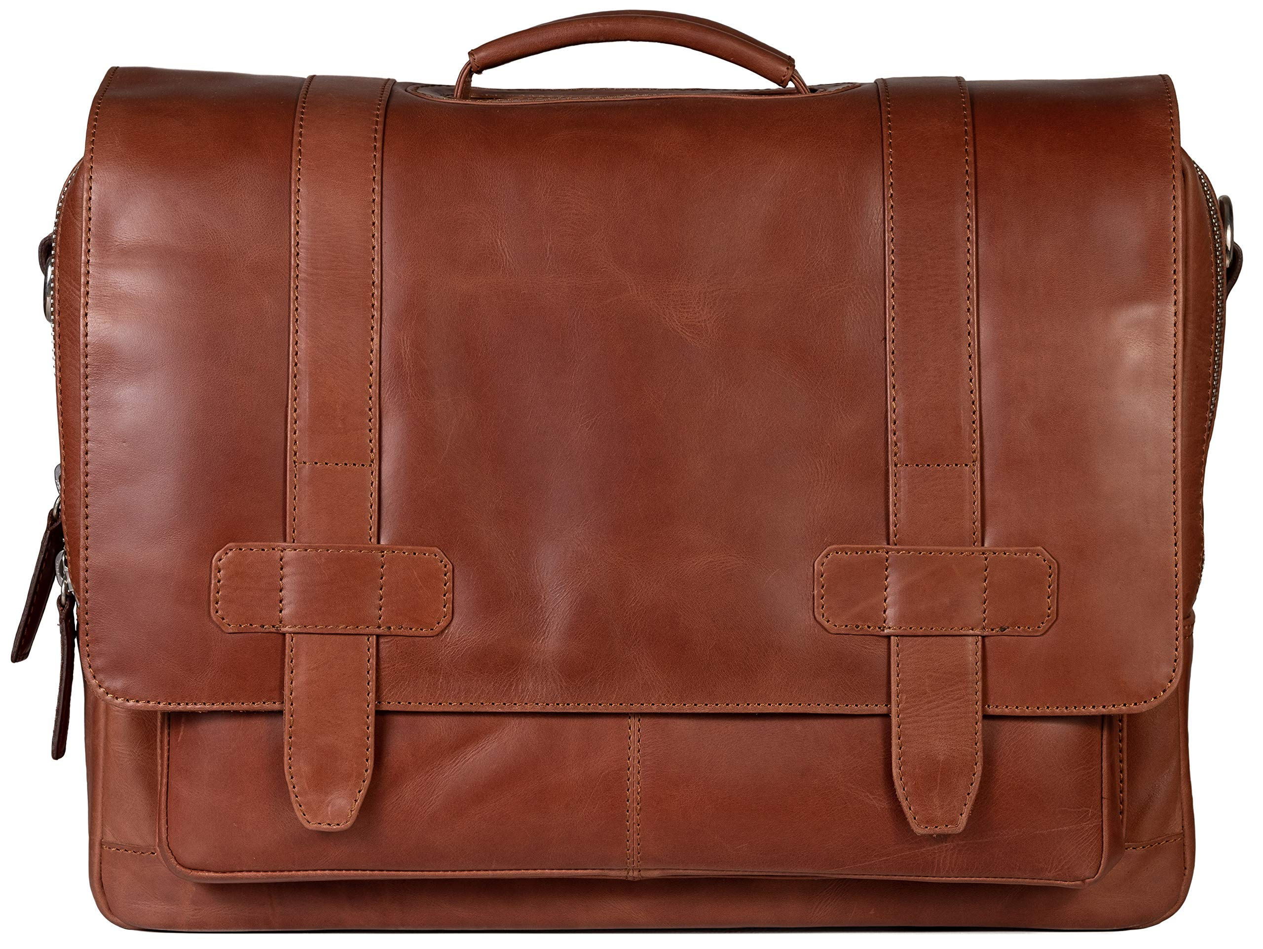 Full-Grain Leather Messenger Laptop Bag/Briefcase for Men, Logan, fits 15.4 inch Laptop, Adjustable Strap, 16 inch by 12 inch by 4 inch (Tan) by Ladderback