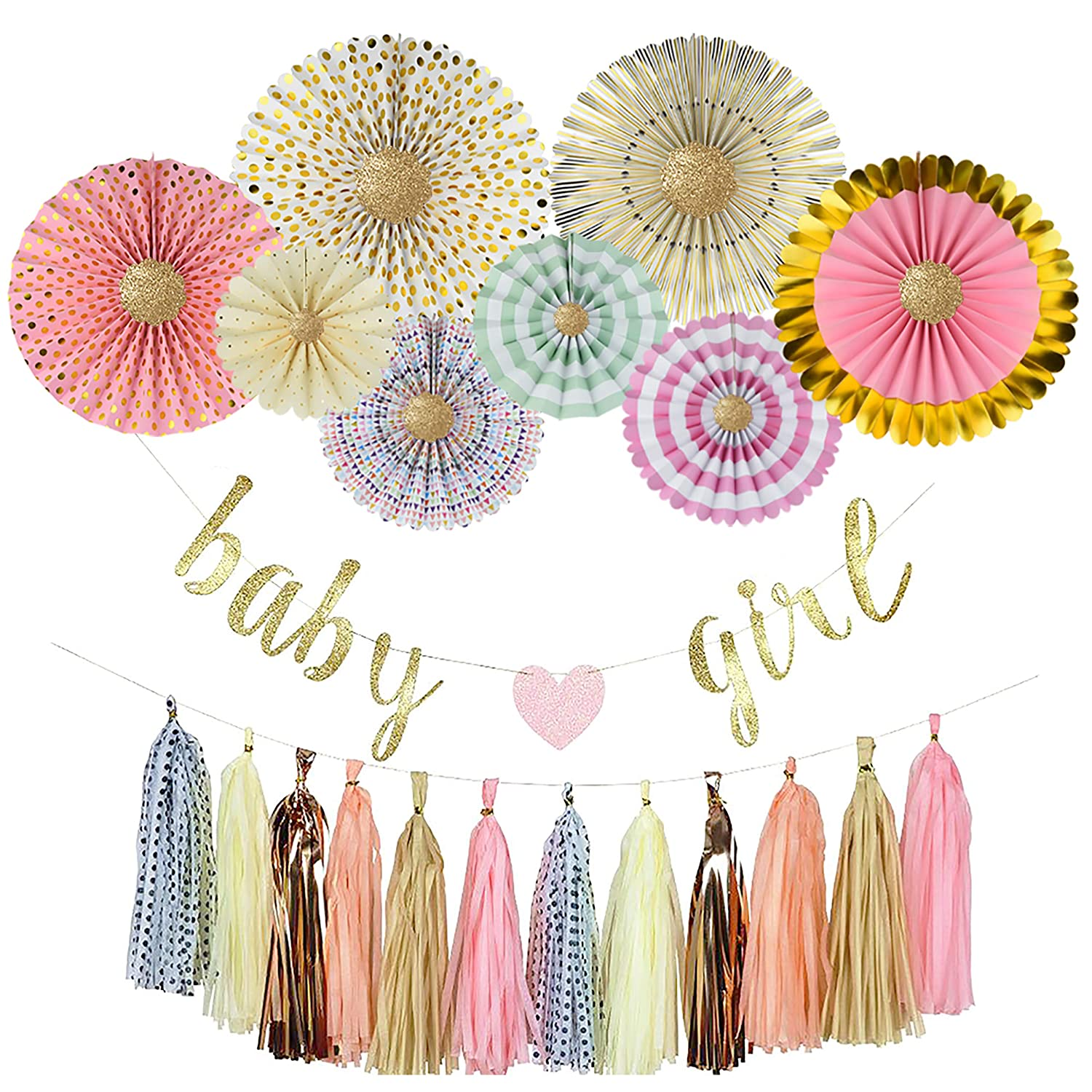 YARA Premium Baby Shower Decorations Kit for Girls| Pink and Gold Party Supplies| Paper Fans| Pink Party Decorations| Baby Girl Banner| Hanging| Tassels| Glitter Gold| Pink| Cream| Peach| Rose Gold