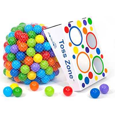 Wonder Playball Non-Toxic Non-Recycled Phlathlate & BPA Free Pit Balls for Kids with Net Tote and Toss Zone (200 Count) : Baby