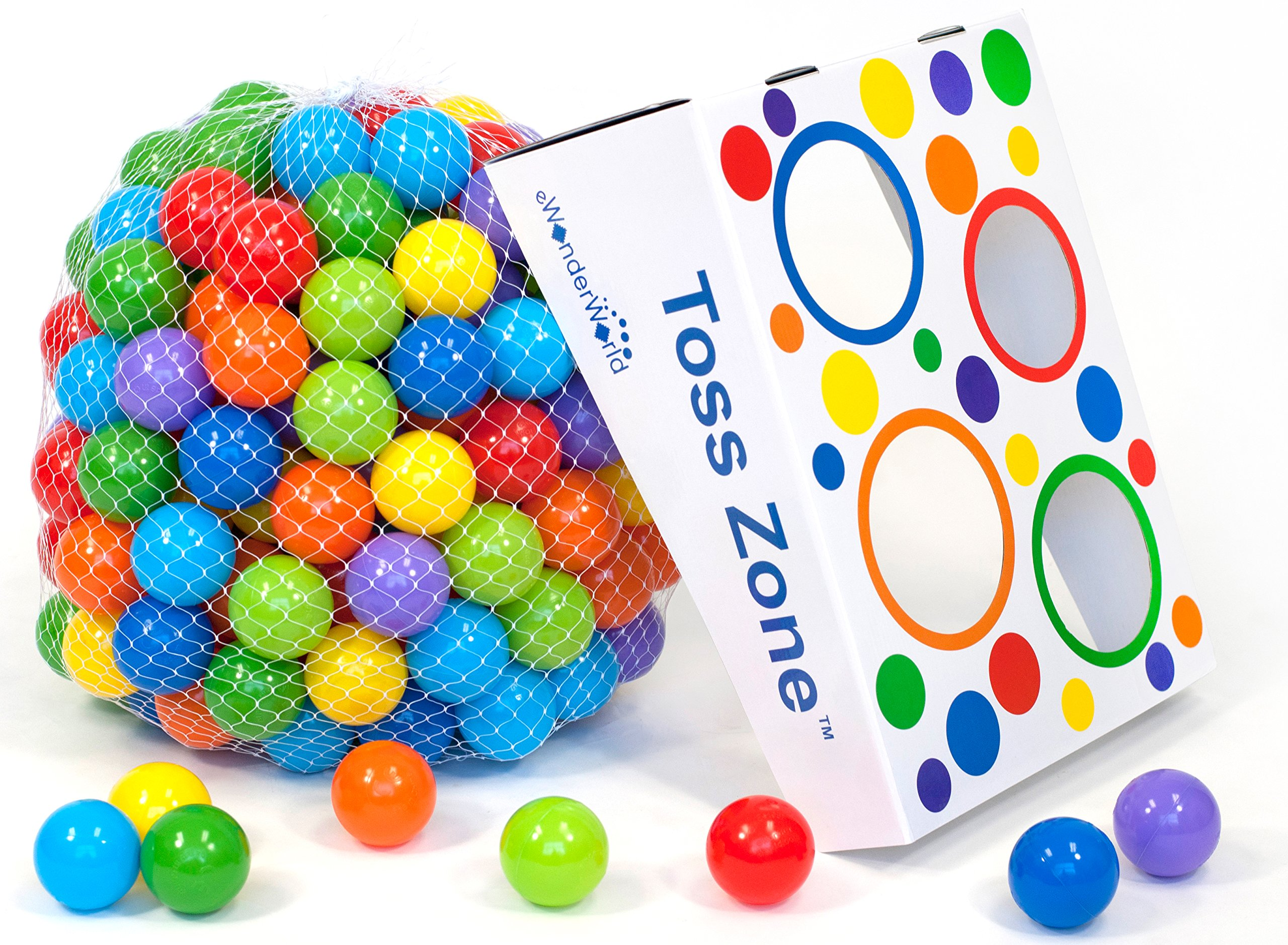 Wonder Playball Non-Toxic Non-Recycled Phlathlate & BPA Free Pit Balls for Kids with Net Tote and Toss Zone (200 Count)