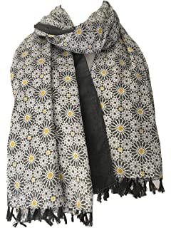 cd879f6b4e723 Purple Possum® Scarf Grey Yellow Floral Tassel Wrap Tassels Ladies Large  Cotton Daisy Print Shawl