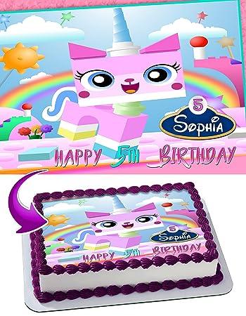 unikitty edible image cake topper personalized birthday 1 4 sheet