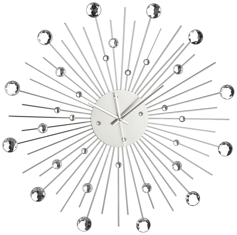 Orologio da Parete in Metallo Stella di Cristallo Decorazione Casa 50 cm, Colore Argento Out of the blue 79/3165