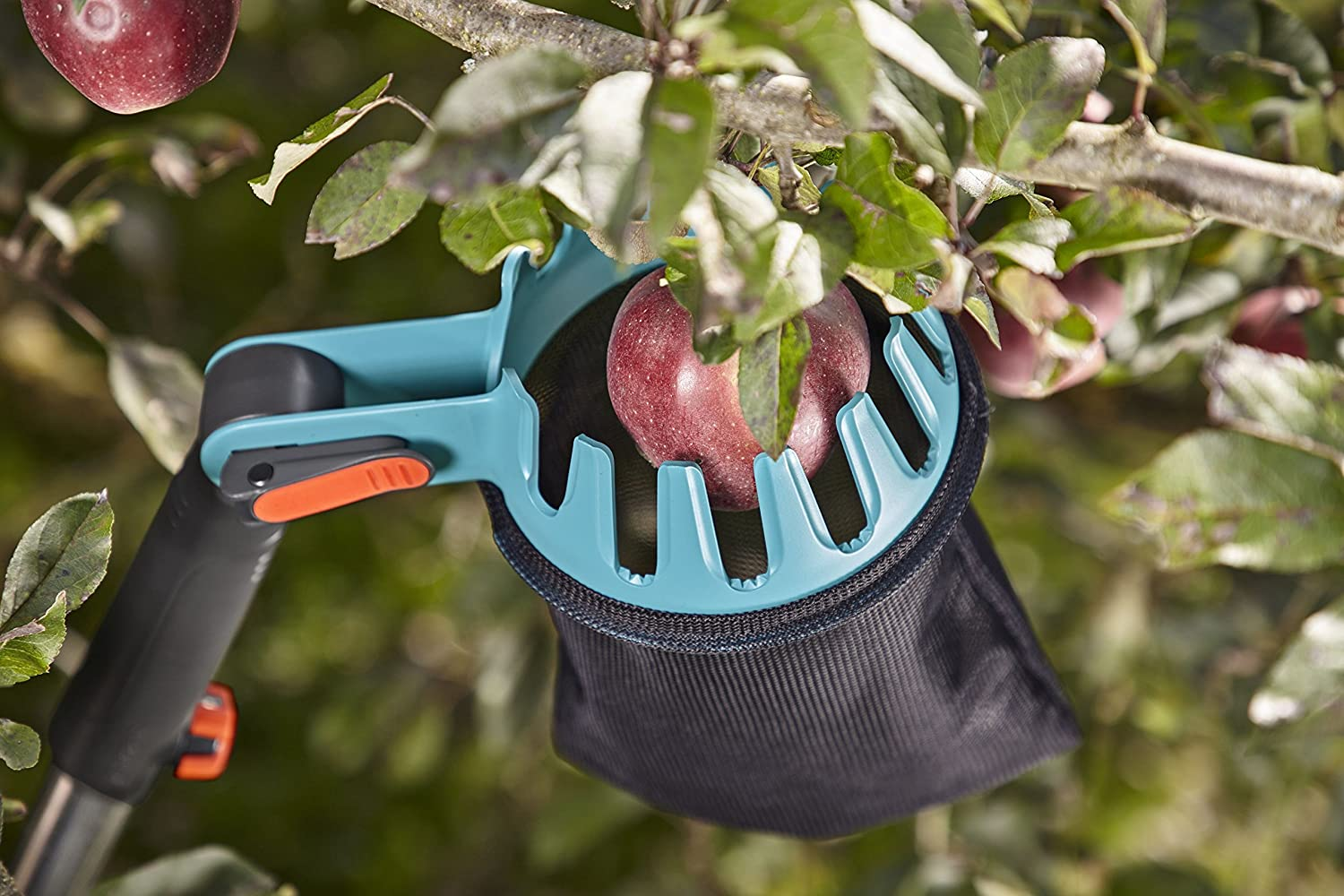 GARDENA combisystem Fruit Collector: The fruit collector for picking up fruit of about 4 to 9 cm without bending over, convenient emptying, compatible with GARDENA combisystem handles (3108-20)