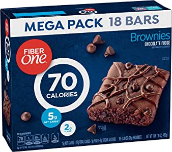 Fiber One 90 Calorie Brownies Mega Pack, Chocolate Fudge, 18-Count ...