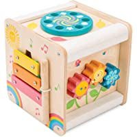 Le Toy Van - Wooden Educational Multi-Sensory Activity Cube With Spinning Wheel | Petilou Range Wood Baby Toy | Suitable…