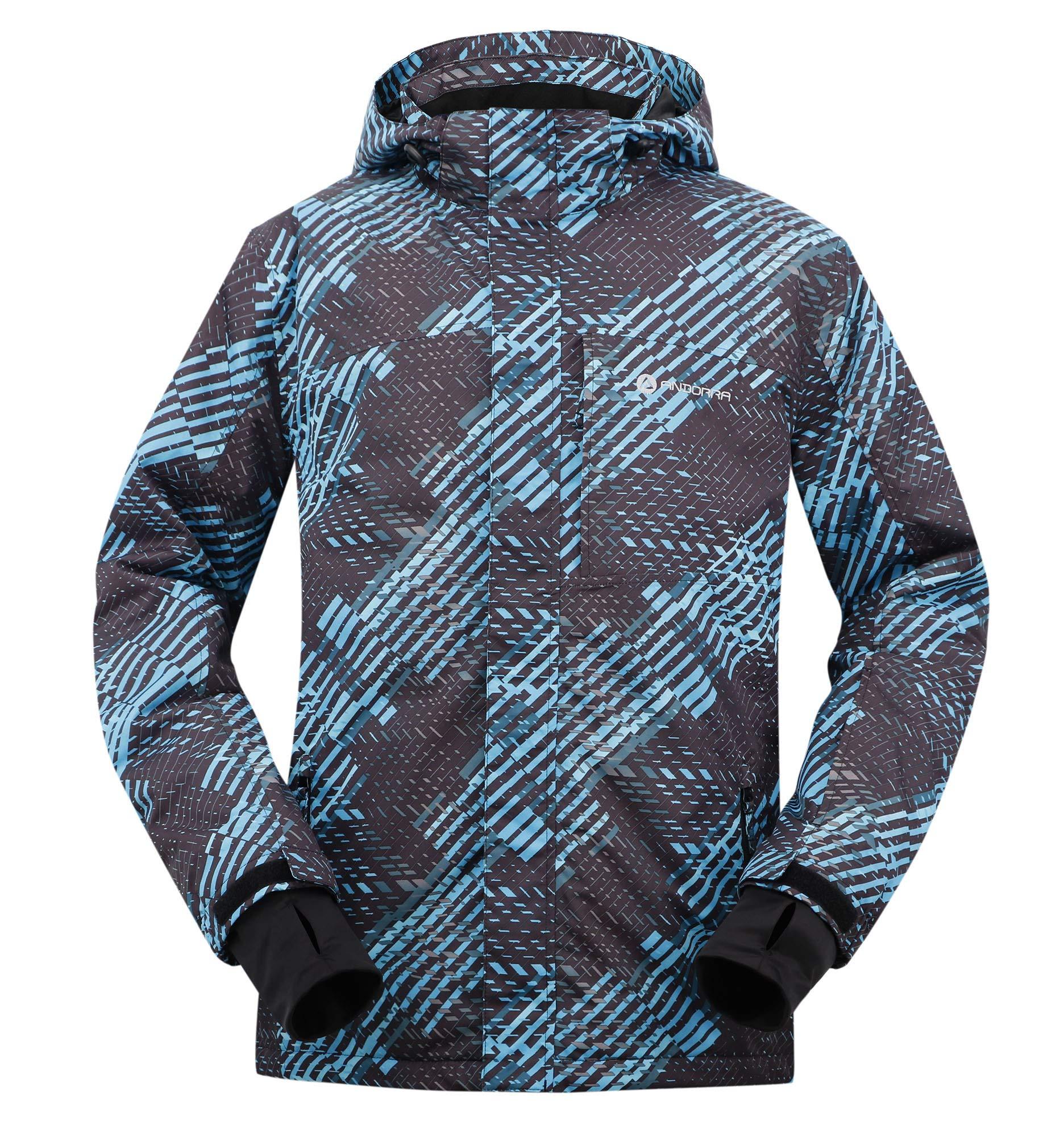 Andorra Men's Performance Insulated Ski Jacket with Zip-Off Hood,Binary Matrix,L by Andorra