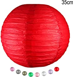 EinsSein 1 x LAMPION Large rot DM 35cm Hochzeit Wedding Laterne Papierlampion