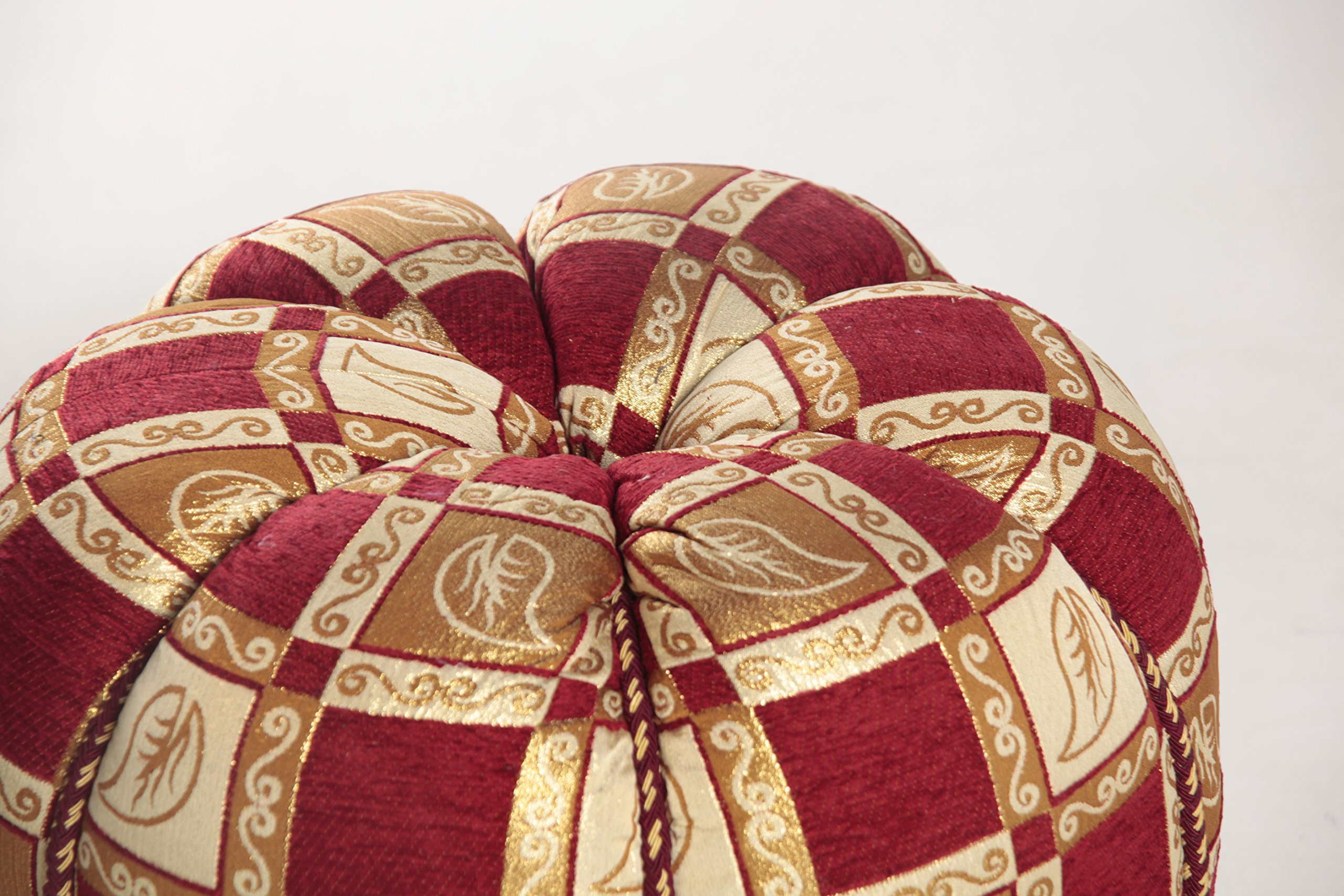 Moroccan Fabric Pouf Ottoman (Red)