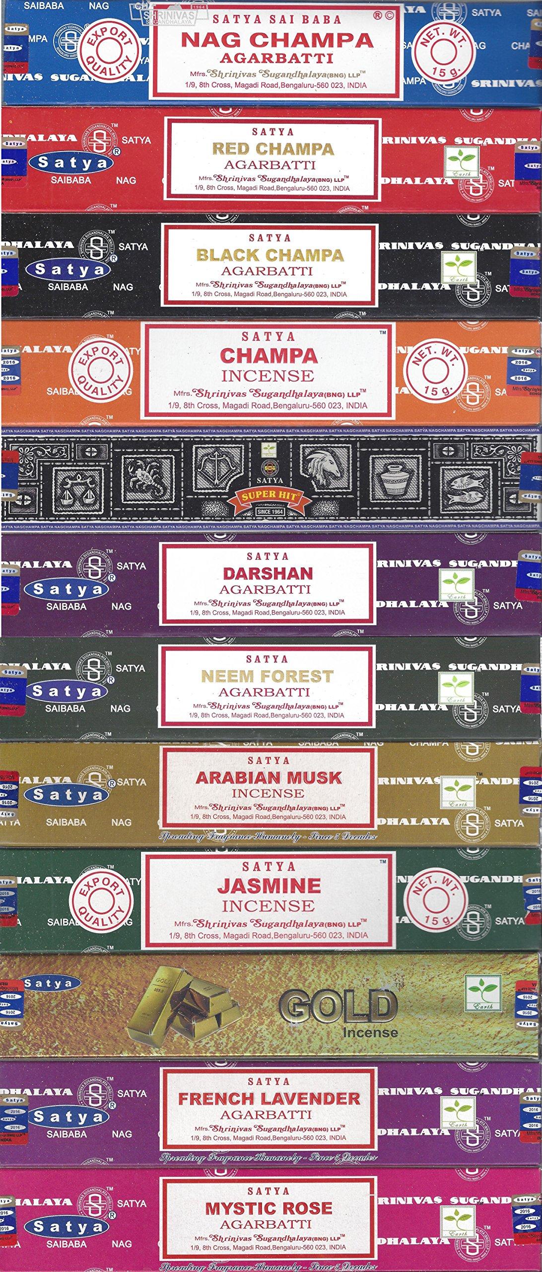 Satya Bangalore (BNG) Set of 12 Nag Champa, Red Champa, Black Champa, Champa, Super Hit, Darshan, Neem Forest, Arabian Musk, Jasmine, Gold, French Lavender, Mystic Rose Incense Sticks by Satya (Image #1)