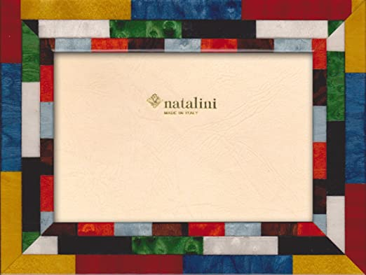 8X 10 White Natalini Marquetry Photo Frame Made in Italy Tulipwood