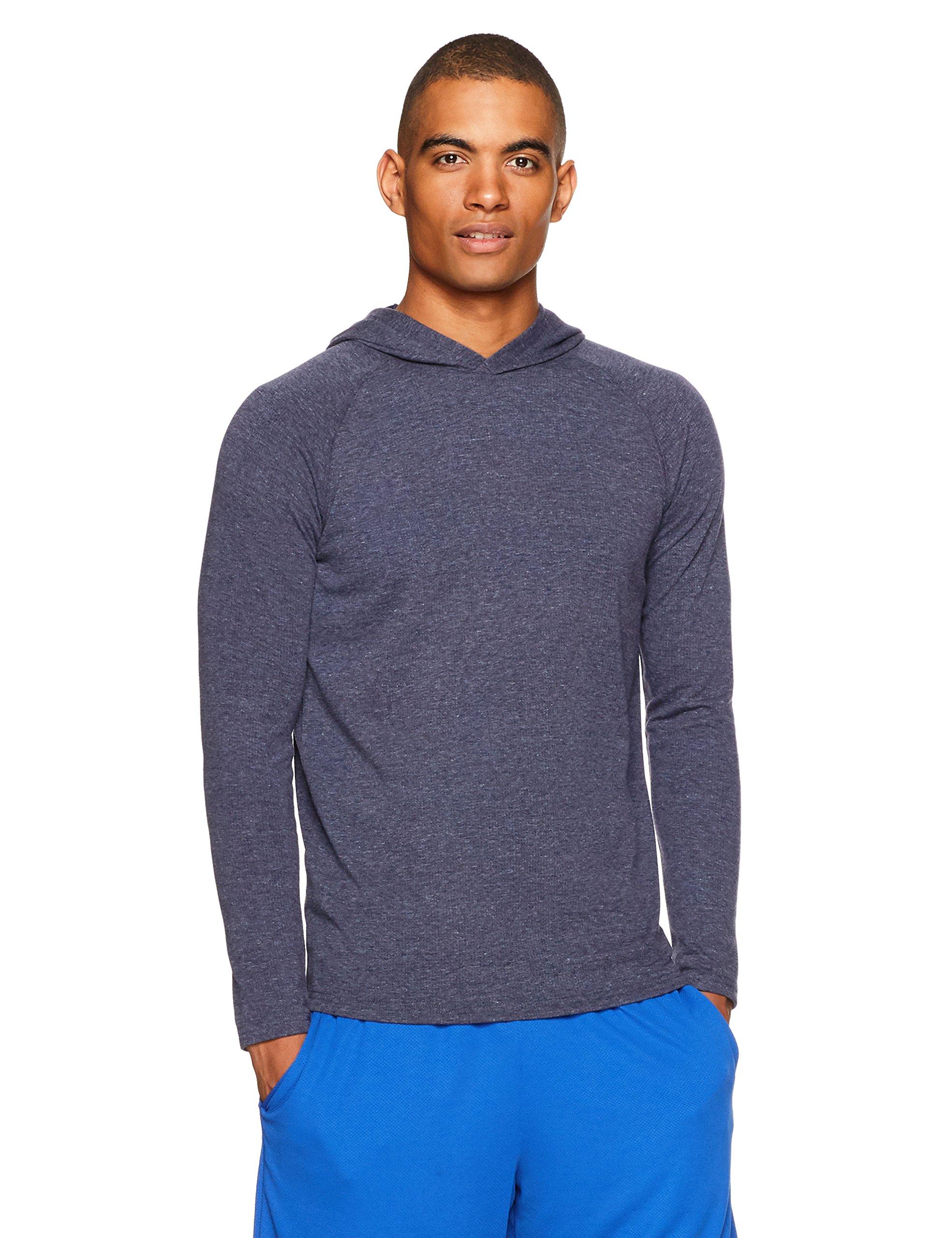 Amazon Essentials Men's Performance Hooded Shirt, Navy Heather, Large