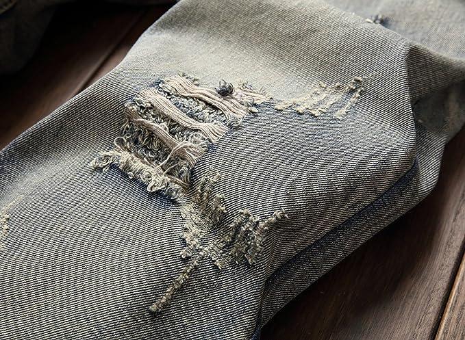 b0ee96b88f93 CHFYI Herren Mittlere Taille Gerade Retro Zerrissene Jeans Ohne Gürtel   Amazon.de  Bekleidung