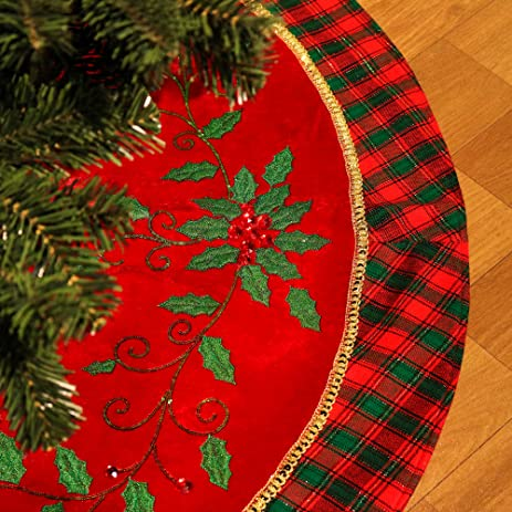 Valery Madelyn 48quot Traditional Holly Leaves Christmas Tree Skirt With Tartan TrimThemed