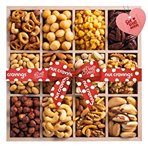 Get Well Soon Gift Basket, Wooden Nut Tray Platter + Red Ribbon (12 Piece Assortment) Feel Better After Surgery Recovery Care Package Variety, Healthy Food Kosher Snack Box for Women, Men, Adults