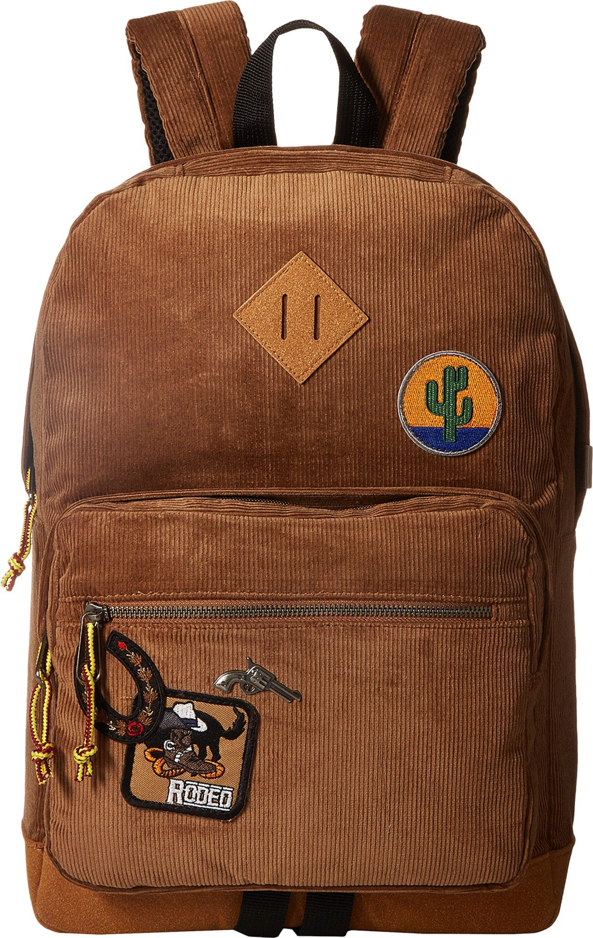 Steve Madden Women's Corduroy Classic Backpack with Patches Cognac One Size