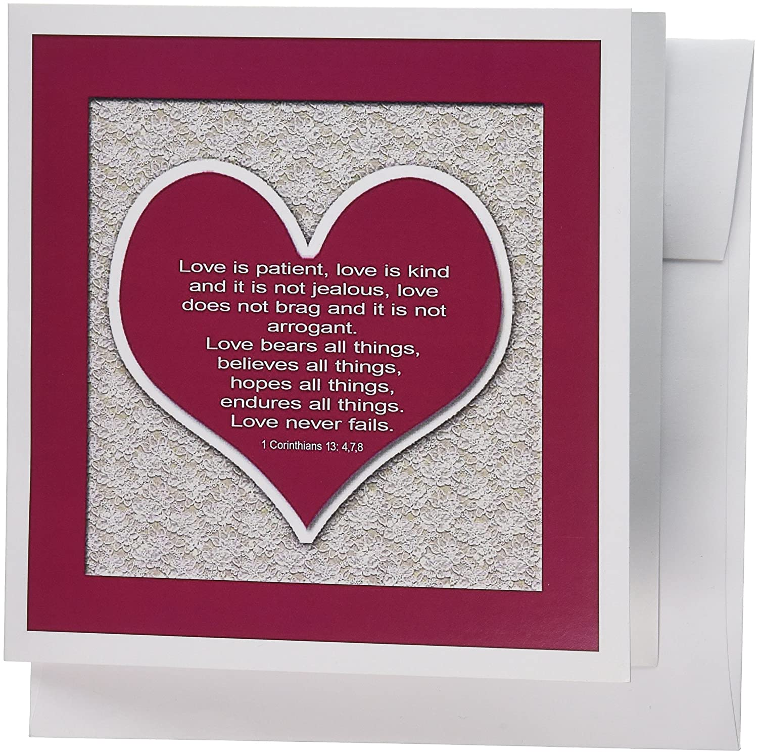 Amazon.com : 3dRose Red Heart and Bible Verse on Love on A Lace ...