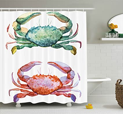 Ambesonne Crabs Shower Curtain Watercolor Style Effect Sea Animal Theme Pattern Illustration Of Artwork