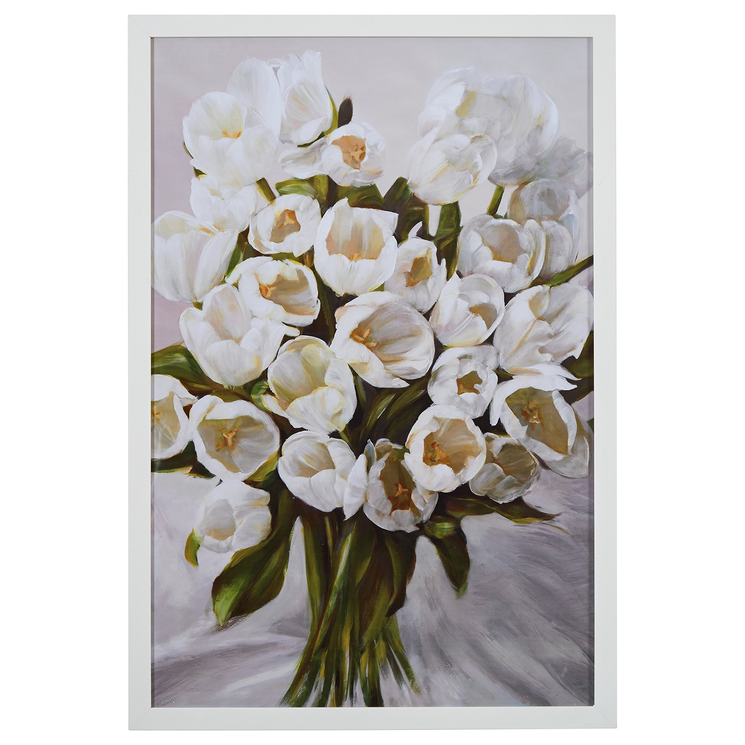 Contemporary White Tulip Bouquet Print in White Wood Frame, 26'' x 38''