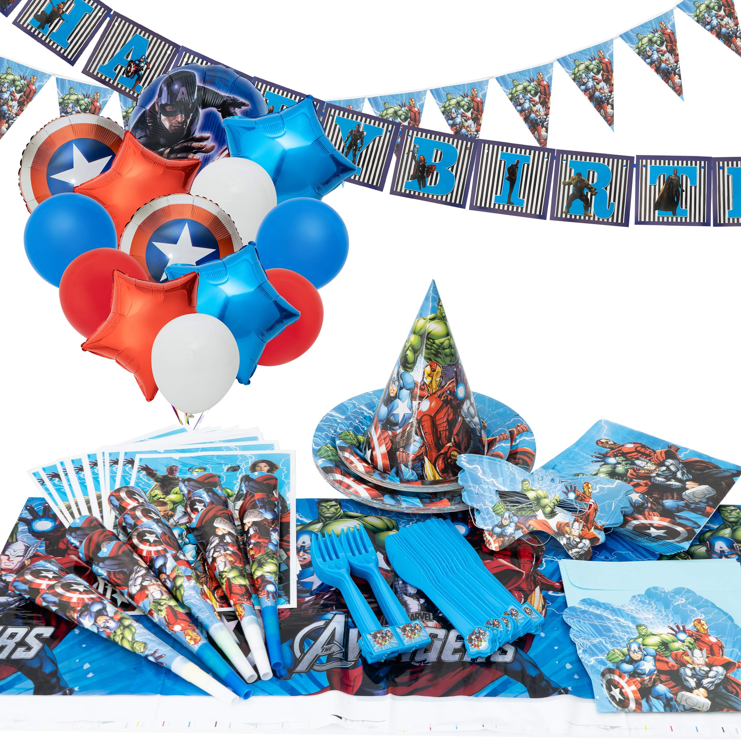 GK Galleria Avengers Party Supplies for 15 Superhero Guests with 200 Plus Items - Superhero Party Supplies - Avengers Birthday Party Supplies Decoration - Marvel Party Supplies - Captain America