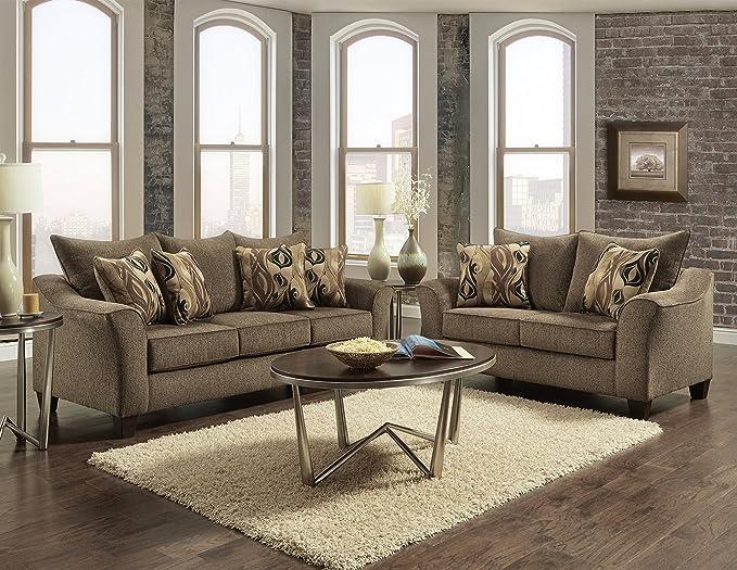 Roundhill Furniture Camero Cafe Sofa And Loveseat Set Furniture Decor Amazon Com