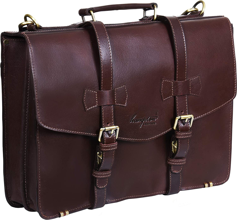 Smart Brown Leather Briefcase Business Satchel Laptop Bag