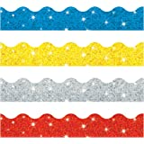 Trend Enterprises Sparkle Scalloped Terrific Trimmers. Variety Pack, 4 Colors, 130' (T-92901)