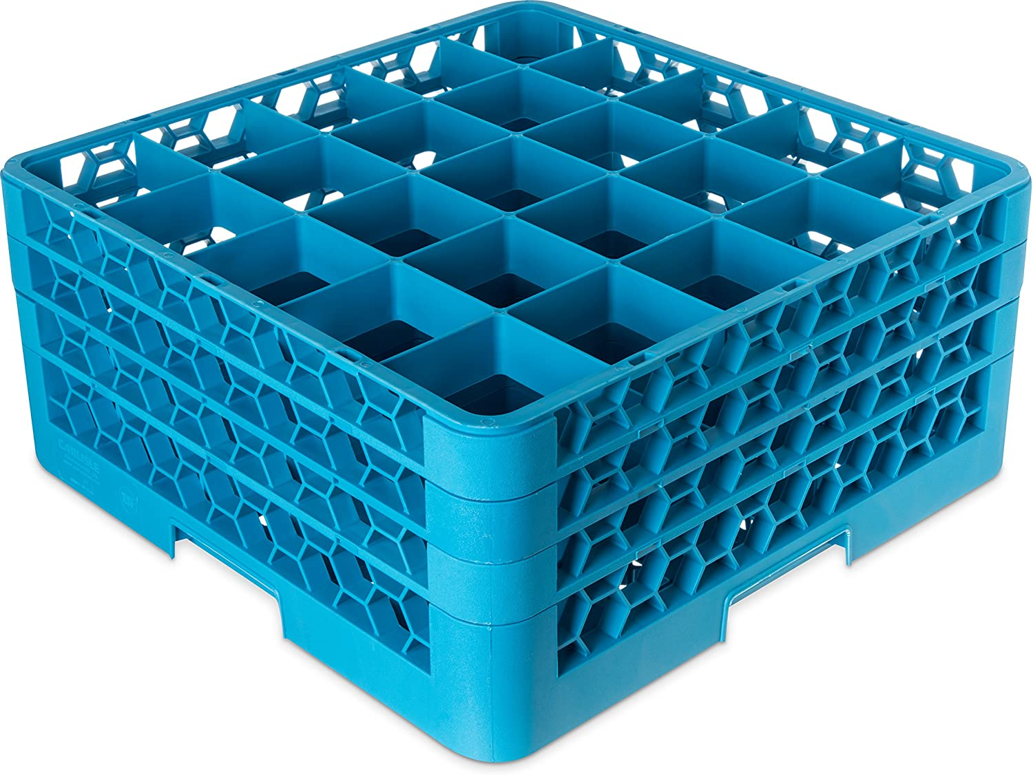 "Carlisle RG25-314 OptiClean 25 Compartment Glass Rack with 3 Extenders, 8.72"", Polypropylene, Carlisle Blue"