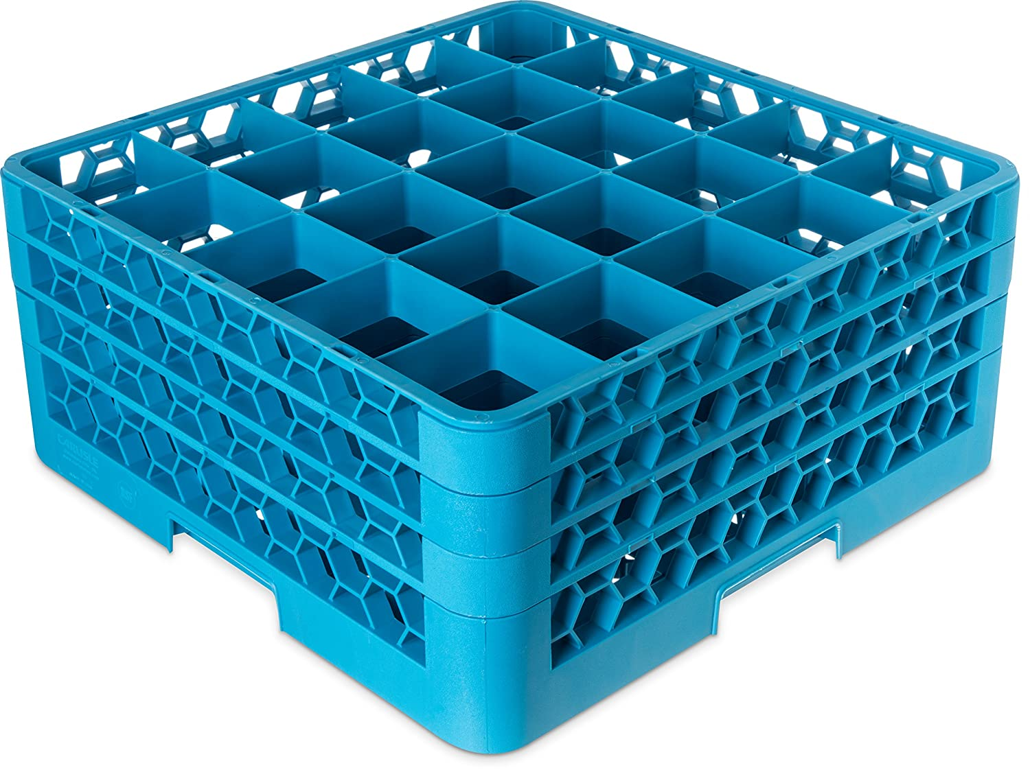 "Carlisle RG9-314 OptiClean 9-Compartment Glass Rack w/ 3 Extenders, Polypropylene, 20.88"" Length, 20.88"" Width, 8.72"" Height, Blue"