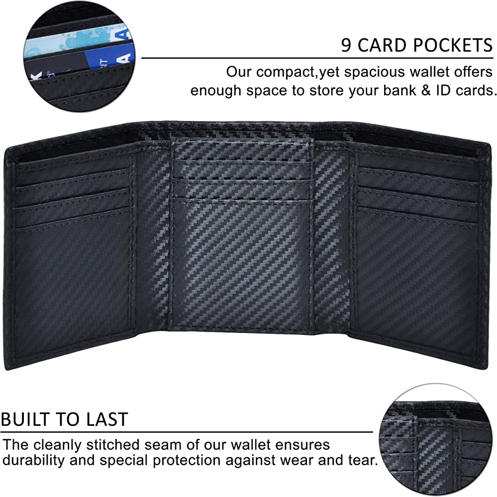 MENS RFID PROTECTED REAL LEATHER BLACK TRIFOLD WALLET CREDIT CARD ID HOLDER 103