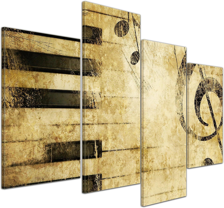 Bilderdepot24 Cuadros en Lienzo Grunge música - 120x80 cm 4 Piezas - Enmarcado Listo Bastidor Imagen. Directamente Desde el Fabricante
