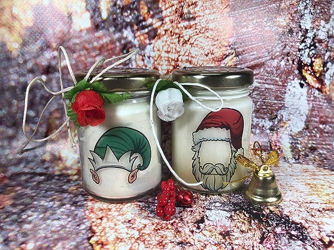 Buon Natale E Buone Feste Natalizie.Buon Natale Personaggi Natalizi 2 Vasetti Con Candele In Due Misure