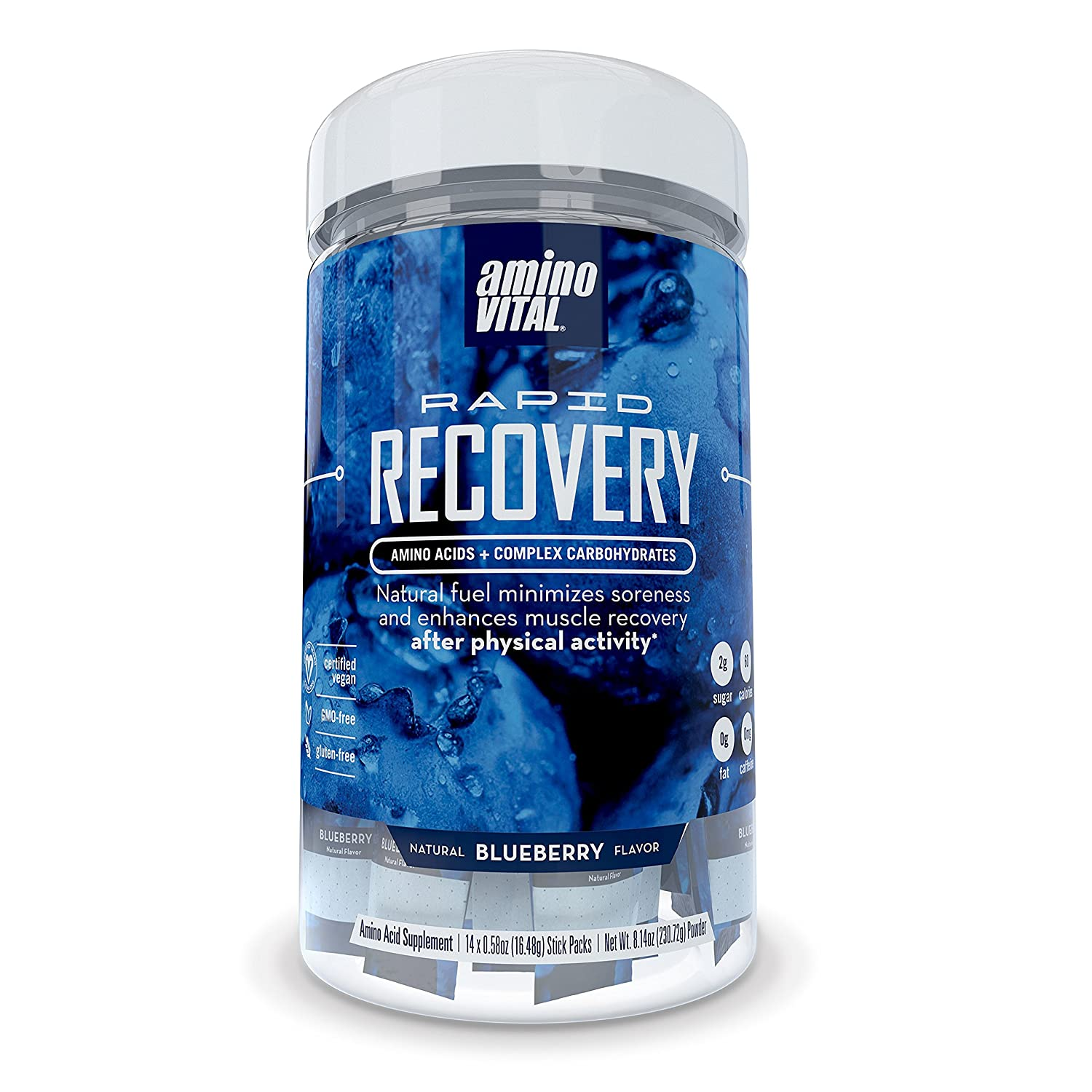 Amino Vital Rapid Recovery - Amino Acids (BCAAs, Glutamine, Arginine) + Carbohydrate Powder Drink Mix, Blueberry, 14 x 16.5g Single-Serve Stick Packs, 8.14oz Canister