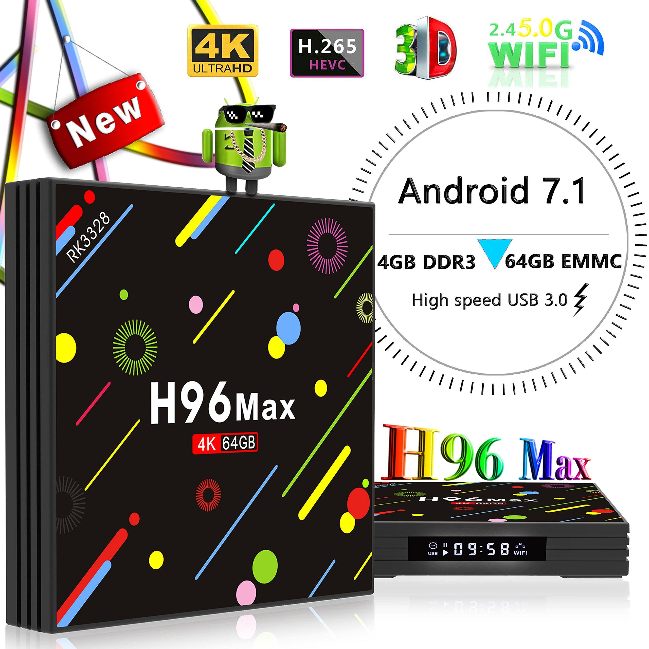 Yongf 4G 64GB TV Box, H96 MAX Android 7.1 tv Box RK3328 Quad-Core 64bit Cortex-A53 4 GB 64G Penta-Core Mali-450 Up to 750Mhz+ Full HD/H.265 / Dual WiFi BT 4.1 Smart Media Player,smart tv box