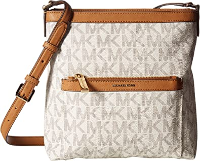 4a2abfec8776 MICHAEL Michael Kors Women's Morgan Medium Messenger PVC Logo Vanilla  Crossbody Bag
