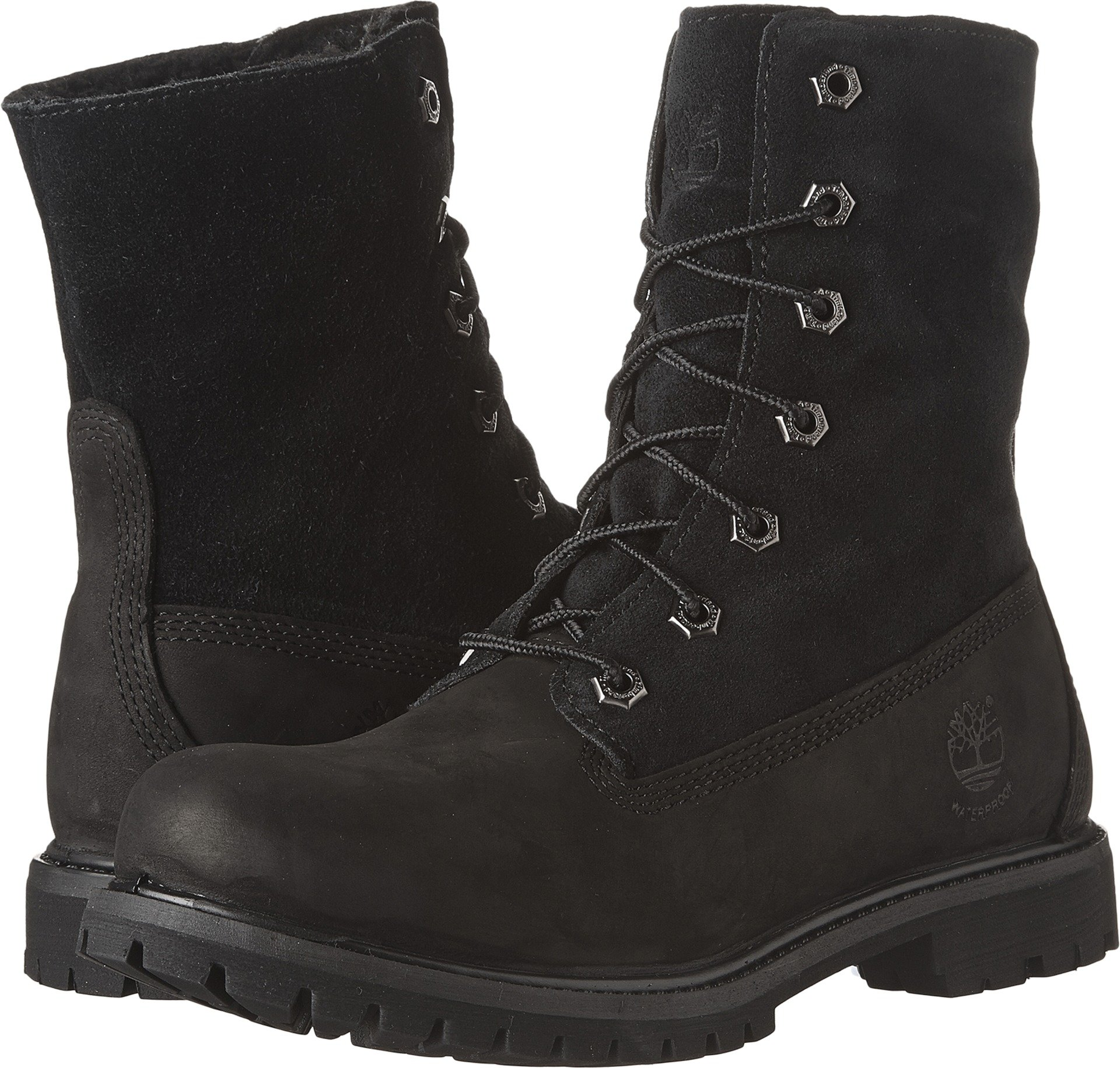 Timberland Womens Authentics Teddy Fleece Waterproof Fold-Down Black Nubuck Boot - 6.5 M
