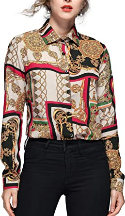 Dovwoer Elegante blusa para mujer con estampado de flores, manga larga y corta, cuello alto, camisa, informal
