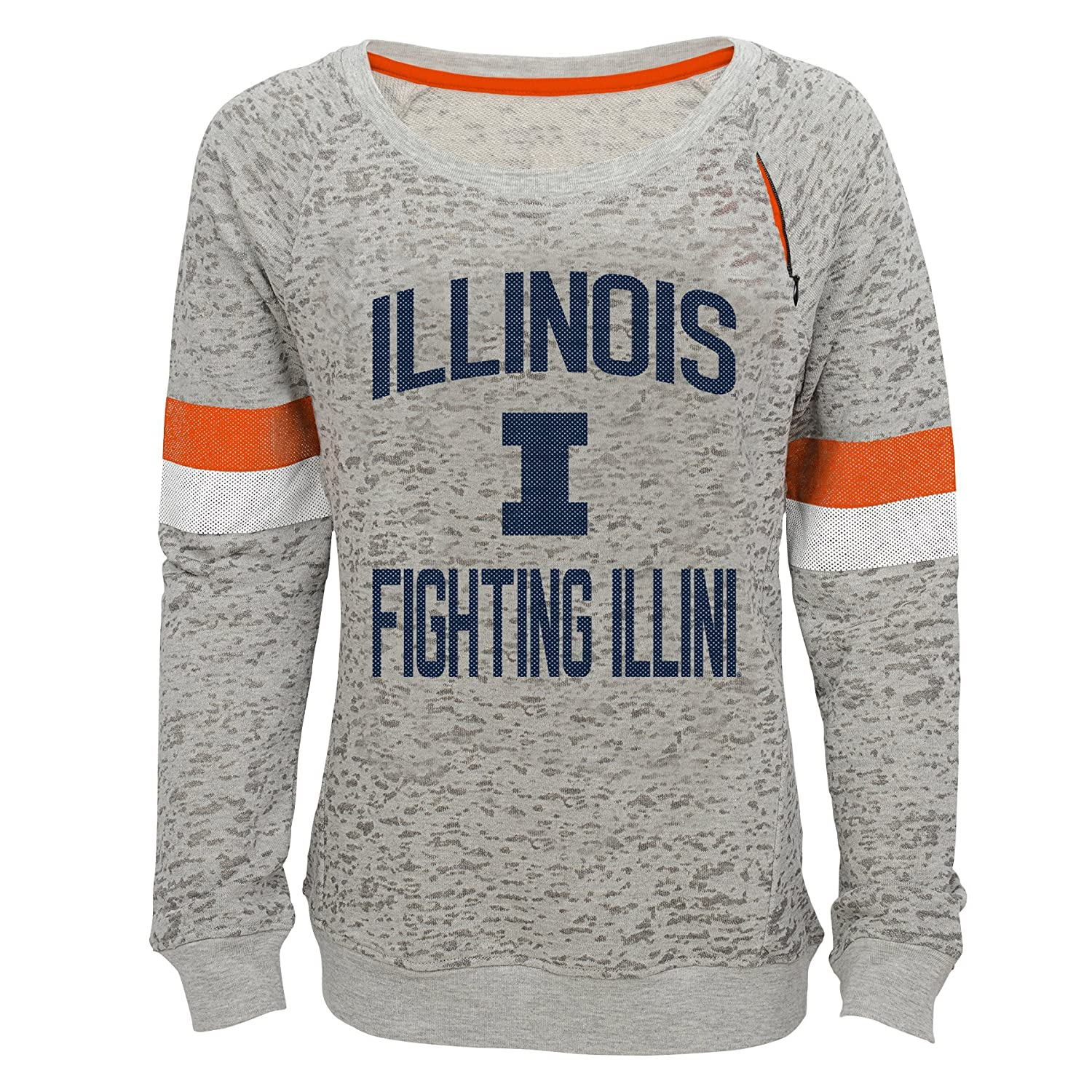 16 NCAA by Outerstuff NCAA Illinois Illini Youth Girls My City Boat Neck Pullover Heather Grey Youth X-Large